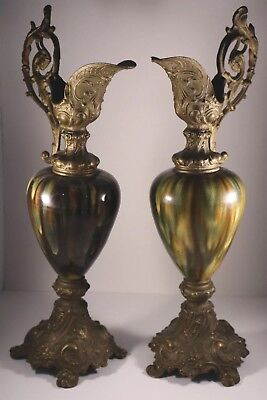 Beautiful Pair of Victorian Brass and Glazed Porcelain Urn Ewers