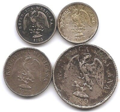 Mexico Lot of 4 Silver 5, 10 & 20 Centavos Coins 1899 - 1904 Low Mintages!