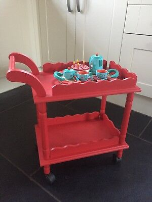 GLTC Wooden Red Trolley On Wheels And Wooden Tea Set