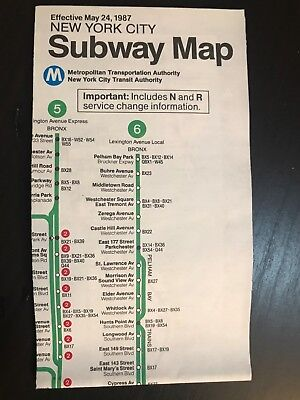 1987 Subway Map.Vtg May 1987 Nyc New York City Subway Map Pocket Mta Guide New