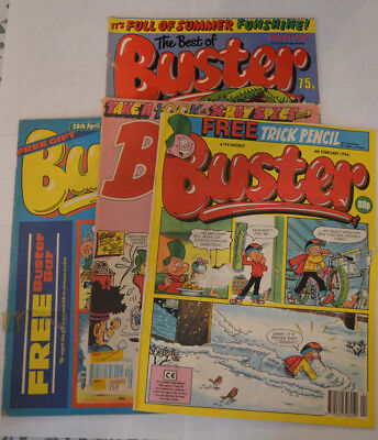 4 x Buster Comics- April 1990 - December 1989 - Feb 1994 - Best of Aug 1990