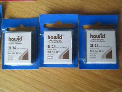Hawid Stamp Mounts Qty 3 - 21/24 Reference 6014 - Black -  Free Postage