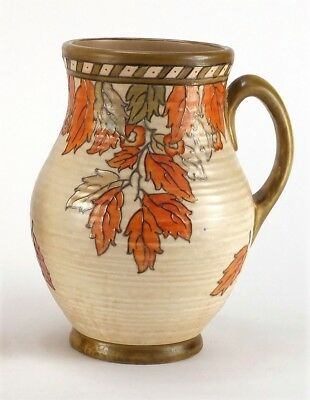 Crown Ducal Art Deco Tube Lined Jug signed by Charlotte Rhead - Golden Leaves