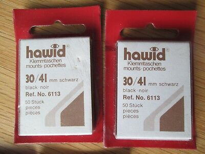 Hawid Stamp Mounts Qty 2 - 30/41 Reference 6113 - Black -  Free Postage