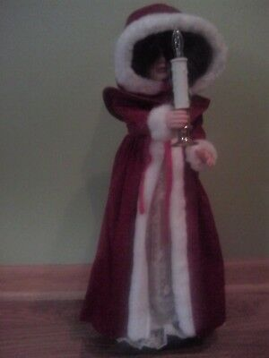 """24"""" Animated Christmas Doll with long red coat with white trim"""