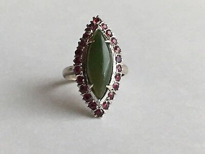 Vintage 18k White Gold Jade And Ruby Halo Ring