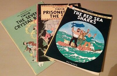 Herge's The Adventures of Tintin x 3 vintage Methuen books 1973- Used