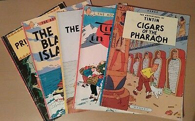 Herge's The Adventures of Tintin x 5 vintage books 1980s/1990 - Used