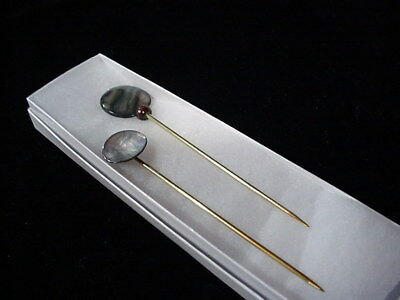 2 HAND TURNED BRASS SHAWL PINS:1 Dyed Shell and 1 Vintage M-O-P Akoya Shell