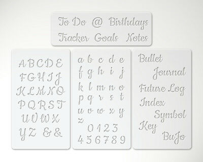4 Reusable stencils script cursive letter alphabet bullet journal key planner 4A