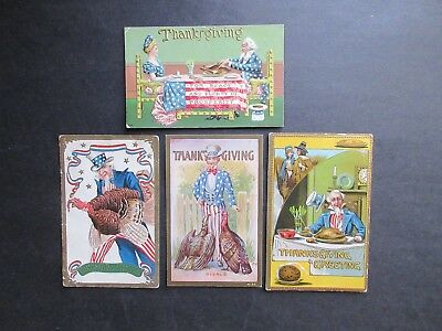 Early 1900's Lot Of 4 UNCLE SAM THANKSGIVING HOLIDAY POSTCARDS (Embossed)