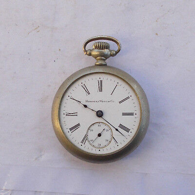 """RARE Vintage Large 2"""" Hampden Wind Up Pocket Watch EARLY Silverode Collectible"""
