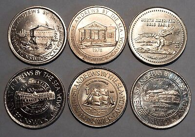 St Andrews-by-the-sea Trade Tokens Group: 76, 78, 88, 89, 06, 08