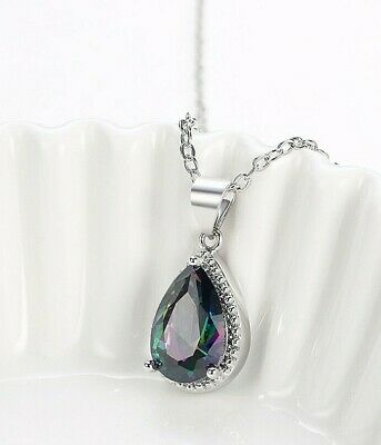 18K White Gold Filled - Oval MYSTICAL Rainbow Topaz Party Lady Pendant Necklace