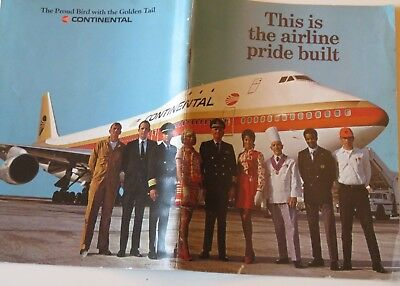 Continental Airlines brochure early 1970's memorabilia airline history