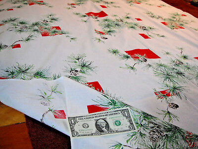 "Vintage MidCentury Holiday Tablecloth 88"" By 51"" Christmas Pine cone pattern"