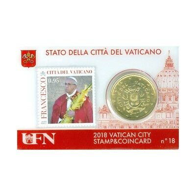 50 Cts Euro Coincard 2018 Vatican Stamps N° 18 Timbre 0,95  Neuf