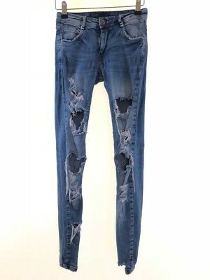 dd4d9d4b ZARA light blue stonewash ripped distressed denim skinny jeans size 6 Leg 29