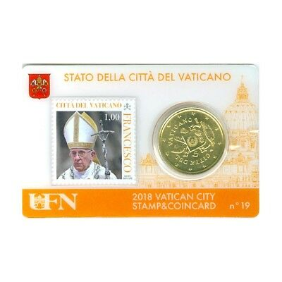 50 Cts Euro Coincard 2018 Vatican Stamps N° 19 Timbre 1,00  Neuf
