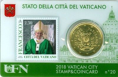 50 Cts Euro Coincard 2018 Vatican Stamps N° 20 Timbre 2,30  Neuf