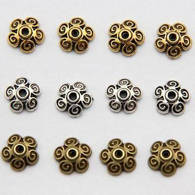 50pcs Silver/Gold Plated Flower Spacer Bead Caps Jewelry Findings DIY Bracelet