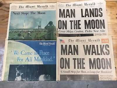 Lot Of4 The Miami Herald Extra Moon Landing July21,1969 Newspaper Good Condition