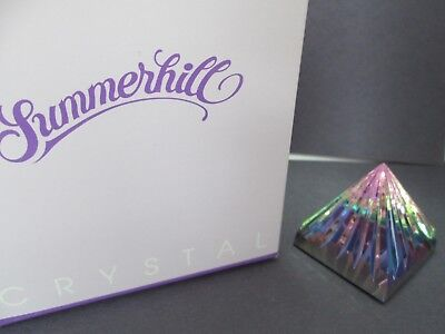 "Summerhill Swarovski Crystal Fluted Rainbow Prism Pyramid 1 3/4"" Paperweight"