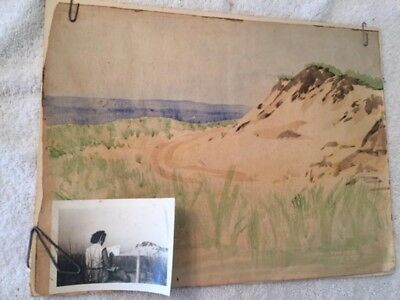 Beautiful Antique Watercolor Painting & Photo Woman Artist Provincetown MA. 1948