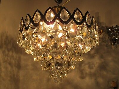 Antique Vnt French Big Plafoniere Crystal Chandelier Lamp 1940's 16in Ø diamter.