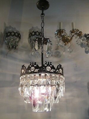 Antique Vintage French Basket Style Mini Crystal Chandelier lamp 1940s 8 in dmtr