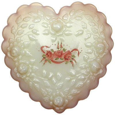 Vintage Fenton Glass Heart Trinket Box Signed Hand Painted Roses Opal White Pink