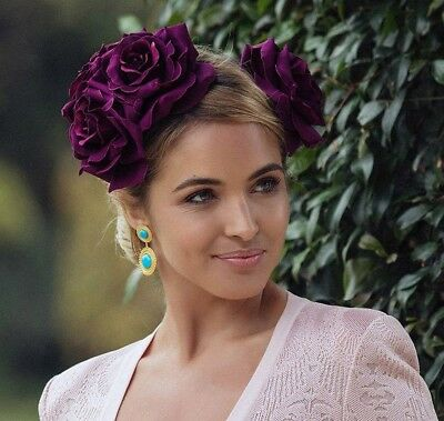 Morgan And Taylor Wine Berry Purple Roses Fascinator Melbourne Cup Rrp $119