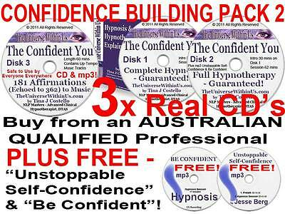 3 CD s CONFIDENT YOU HYPNOSIS HYPNOTHERAPY SET SELF-CONFIDENCE BUILDING EMPOWER