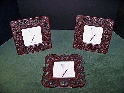 Picture Frames Lot of 3 Ornate Open Leaf & Scroll  Glass Front two Matching