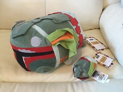 Disney Store Star Wars *Boba Fett* Battle Damage Medium & Mini Tsum Tsums BNWTS