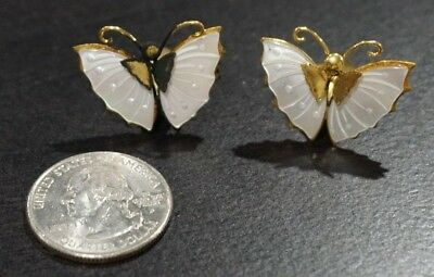 Vintage Antique Mother of Pearl Moth Butterfly Brass Ear Rings Clip On A3