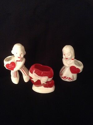Vintage Rosbro Plastic Valentine Boy, Girl And Heart Candy Holders