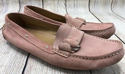 647c6b2fdae Prada Pink Suede Leather Moc Toe Moccasins Buckle Loafers Shoes Women s Size  7.5
