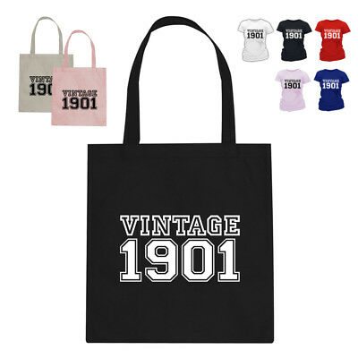 Vintage 1901 117th Birthday Gift Tote Bag Many Colours