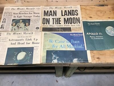 Lot Of 5 Miami Herald Man Lands On The Moon July21,1969 Newspaper Fair Condition