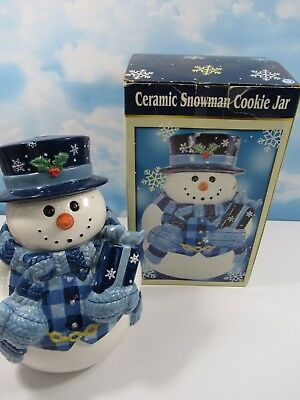 Christmas Ceramic Snowman with Box Vest Scarf and Gloves Cookie Jar