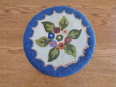 Vintage Hooked Round Chair Pad