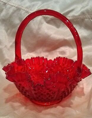 Fenton Art Glass Red Hobnail  Basket With Handle