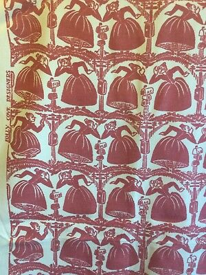 Folly Cove Designers vintage print Fabric V. Burton Gossips Cape Ann 3.75 Y wool