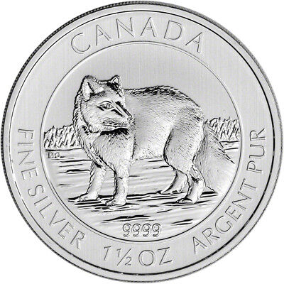 Roll of 15 Proof 2014 Canadian $8 Arctic FOX 1.5 ounce pure silver each coin