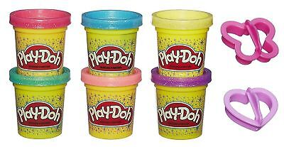 PLAY DOH SPARKLE COMPOUND Glitter 6 Tubs Cutters Modelling Clay Craft Fun Dough