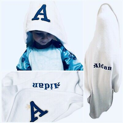 Personalized Embroidered Baby Hooded Towel, Robe Initials Name, Newborn Gift