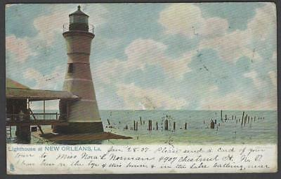 Lighthouse Port Pontchartrain Milneburg New Orleans LA Postcard 1907