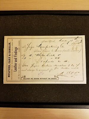Mulford, Cary, & Conklin New York Vintage Receipt 1873