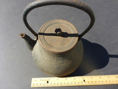 Antique/vintage Japanese Cast Iron Tea Kettle (Tetsubin,) Signed, Arare Pattern